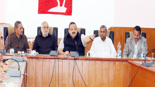 NC Provincial President Devender Singh Rana addressing party workers at Nowshera on Thursday.