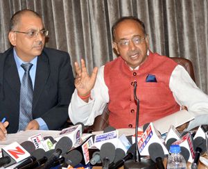Union Minister Vijay Goel at a press conference in Jammu on Friday.