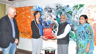 Vice Chancellor JU Prof RD Sharma and Scientists from University of Bremen, Germany during interaction.