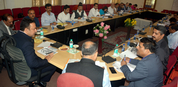 Minister for FCS&CA, Zulfkar Ali chairing a meeting at Jammu on Wednesday.