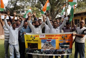 Unemployed Army porters protest demanding Govt jobs
