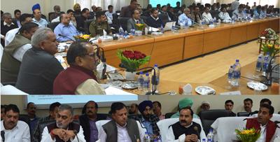 Deputy Chief Minister Dr Nirmal Singh and PHE Minister Sham Lal Choudhary chairing DDB review meeting at Kathua.