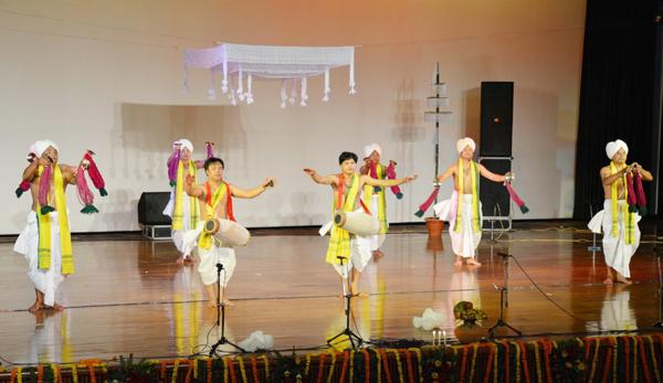 Artists presenting devotional music item during Bhakti Utsav at SMVDU on Saturday.