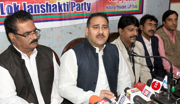 LJP leaders at a press conference at Jammu on Tuesday.