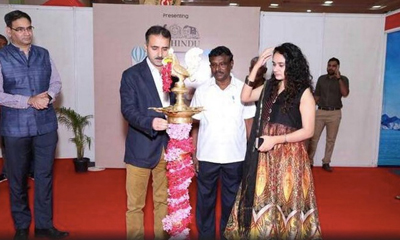 Dy Director Tourism Kashmir, Peerzada Zahoor lighting a traditional lamp during inauguration of 2-day Travel Expo in Chennai.