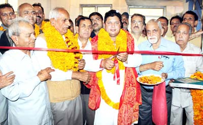 Rajesh Gupta, MLA Jammu East inaugurating Sain Samaj community hall on Tuesday.