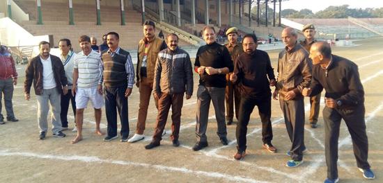 Veteran athletes ready to go at MA Stadium in Jammu.