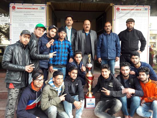 J&K Under-19 boys Tennis Ball Cricket team posing along with Director Sports Sheikh Fayaz Ahmad in Jammu on Tuesday.