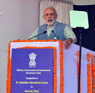 Prime Minister, Narendra Modi addressing the gathering at the ceremony to dedicate Dr. Ambedkar International Centre to the Nation, at 15 Janpath, in New Delhi on Thursday.