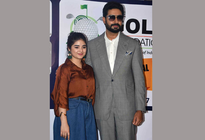 Zaira Wasim and Abhishek Bachchan during 5th edition of pro-Am championship hosted by the Golf Foundation at Chembur Golf Club in Mumbai on Sunday. (UNI)