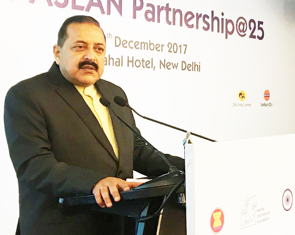 "Union Minister Dr Jitendra Singh addressing the session on Northeast and ""Act East Policy"" during the ASEAN Summit at New Delhi on Wednesday."