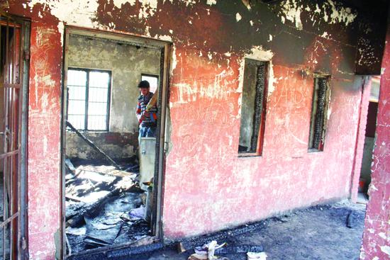 A damaged school building at Goripora, Noorbagh in Srinagar. —Excelsior file photo by Shakeel