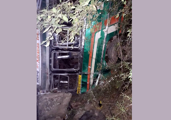 Minibus lying in gorge after accident.