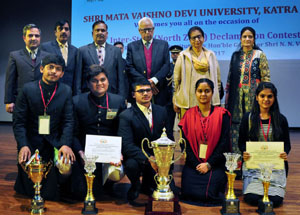 Winners of 3rd Annual Inter-State North Zone Declamation Contest posing for group photograph with Governor NN Vohra, First Lady and others at SMVDU, Katra.