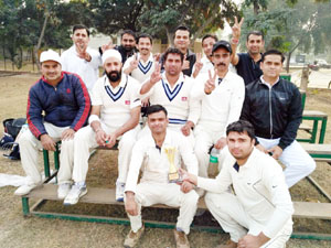 The players of SKUAST-Jammu posing for group photograph after defeating MPKV Rahori, Pune in Vice-Chancellor's T-20 Cricket Tournament at Patiala.