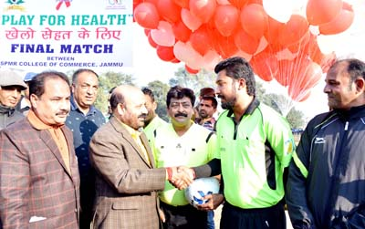 Minister for Health & Medical Education, Bali Bhagat interacting with footballers at Science College ground in Jammu.