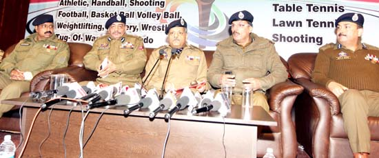ADGP Armed, AK Choudhary and other dignitaries addressing media persons in Jammu on Thursday. -Excelsior/Rakesh
