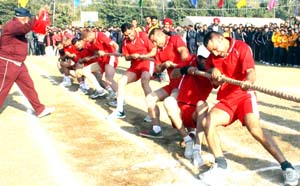 Tug-of-War players in action on the inaugural day of Inter Zone Sports Meet in Jammu. -Excelsior/Rakesh