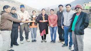 Winners of District Chess Championship being felicitated in Rajouri on Sunday.