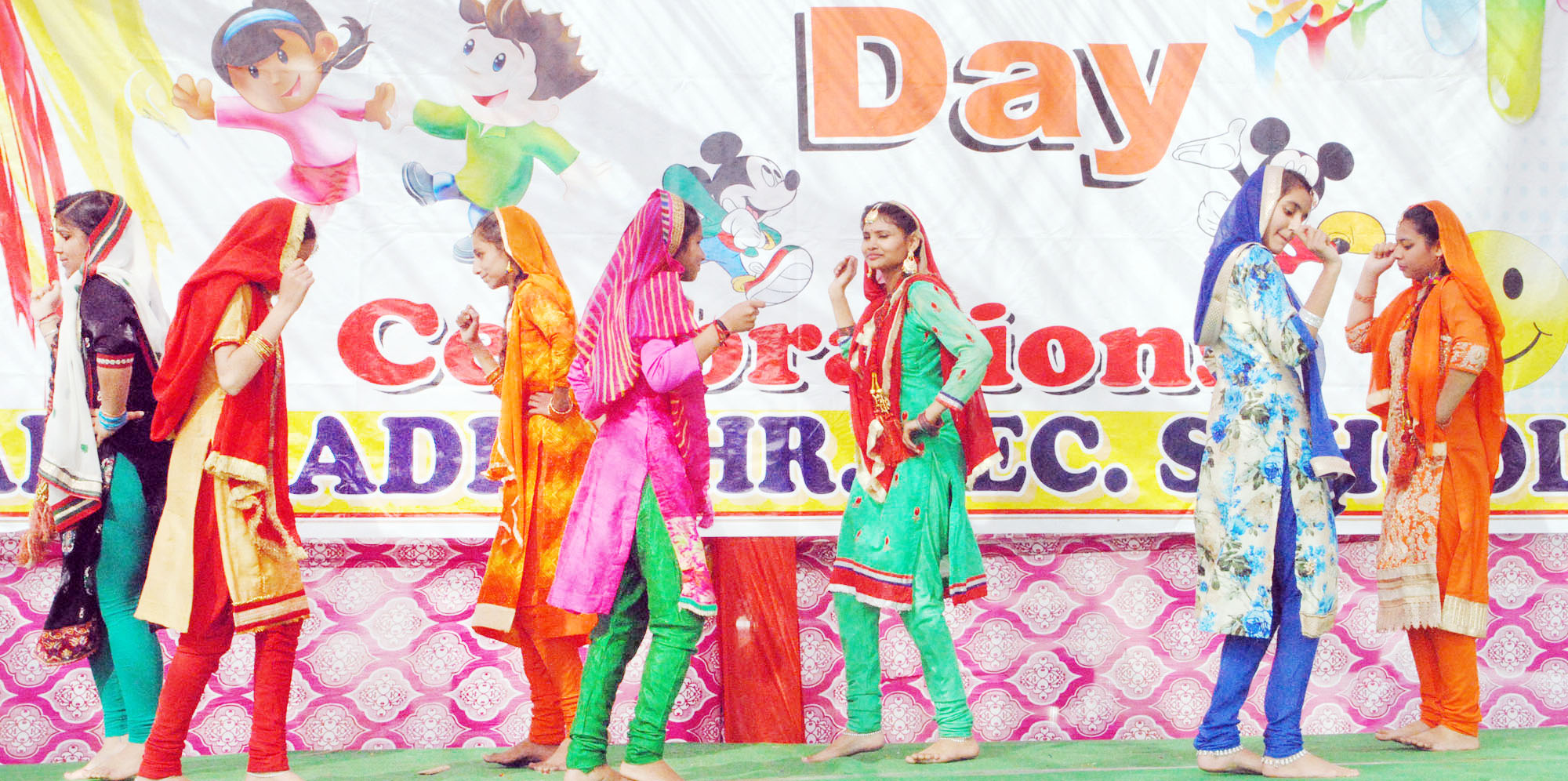 Students of AHSS Barnai presenting colourful cultural item while celebrating Annual Day.