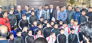 Speedball players during flag off ceremony in Jammu on Thursday.
