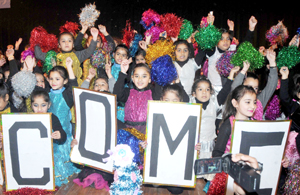 Students presenting colourful cultural activity while celebrating Annual Day at Jammu Sanskriti School in Jammu. -Excelsior/ Rakesh