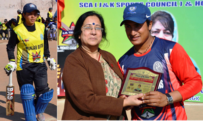 Dr Hemla Aggarwal, Principal GCW Parade felicitating winner of women of the match award. (L) Neelam after scoring century.