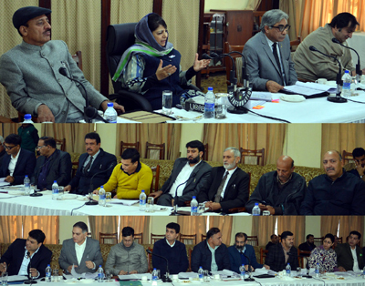 Chief Minister Mehbooba Mufti chairing a meeting at Jammu on Thursday.