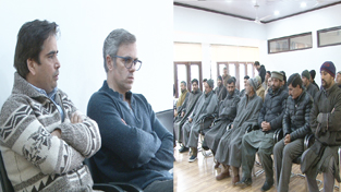 NC working president, Omar Abdullah during a meeting with various delegations at party office in Srinagar.
