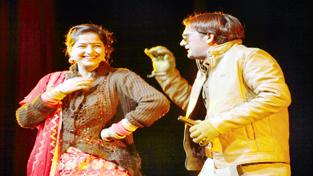 A scene of Punjabi play 'Terrorist Ki Premika' staged by Manoranjan Kala Kendra at Abhinav Theatre on Wednesday. —Excelsior/Rakesh