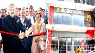 NC Provincial President and MLA Nagrota Devender Singh Rana inaugurating McDonald's outlet on Sunday.