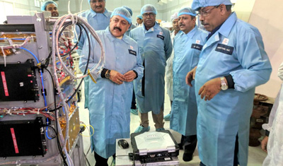 Union Minister Dr Jitendra Singh going around the different sections of the Remote Sensing Unit at Space Application Centre, Ahmedabad on Tuesday. Also seen are Director, Dr Tapan Mishra and other senior scientists.