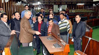 Minister for Revenue A R Veeri during his visit to Legislature Complex at Jammu on Saturday.