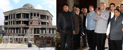 Minister for Revenue, A R Veeri and Speaker Kavinder Gupta inspecting work on new Assembly Complex at Jammu.