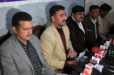 AJKPC President Anil Sharma interacting with media persons at Jammu on Tuesday. —Excelsior/Rakesh