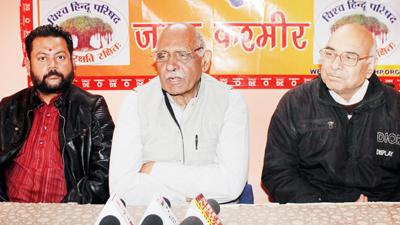 State President VHP, Leela Karan Sharma addressing a press conference at Jammu on Friday. -Excelsior/ Rakesh