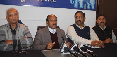 BSP J&K President Somraj Majotra and others during press conference at Jammu on Saturday.