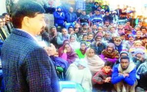 MLA Udhampur, Pawan Gupta, during a Public Darbar at Lander Panchayat of his constituency.