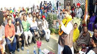 Senior Congress leader Raman Bhalla addressing public meeting in Narwal area of Jammu on Sunday.