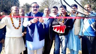 MLC Ajatshatru Singh inaugurating development works in Nagrota on Sunday.