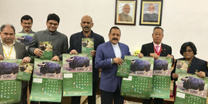 Union Minister Dr Jitendra Singh, flanked by senior officers of Ministry of Northeast (DoNER) and North Eastern Council, releasing the Northeast wall-Calendar and table - Calendar for the year 2018, at New Delhi on Friday.