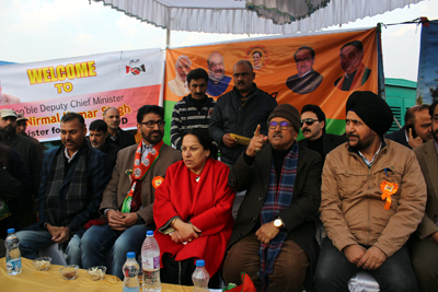 Deputy CM, Dr Nirmal Singh, MoS Health Asiea Naqash and other BJP leaders at a convention at Srinagar on Wednesday.