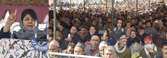 Chief Minister Mehbooba Mufti addressing party workers at Bijbehara, Anantnag on Sunday.