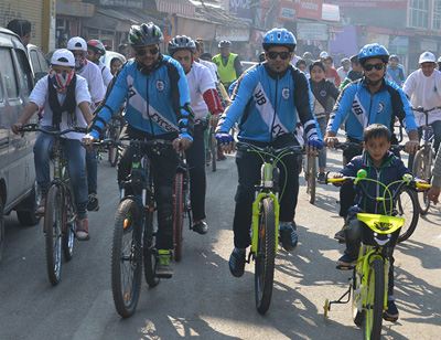 Cyclists during a Rally at Udhampur.