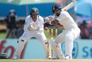 Skipper Virat Kohli plays a shot during the Second Test match against South Africa at the Centurion Stadium, Pretoria, South Africa on Sunday.