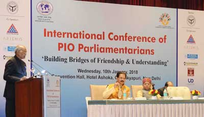 President, Ram Nath Kovind addressing at the inauguration of the International Conference of PIO Parliamentarians, organised by Antar Rashtriya Sahayog Parishad - Bharat in association with the PIO Chamber of Commerce and Industry and the Ministry of External Affairs, in New Delhi on Wednesday. (UNI)