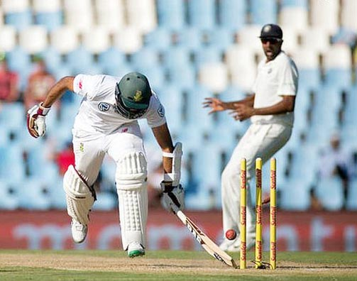South Africa's Hashim Amla is run out during the second Test match against India at Centurion in South Africa.