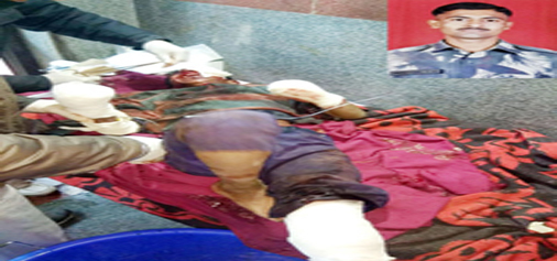 A civilian injured in mortar shell explosion at Shahpur, Poonch on Saturday. (Inset) Martyr Yogesh Bhadane.