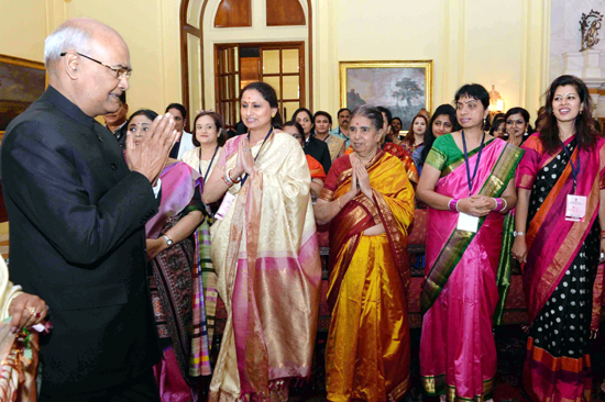 President, Ram Nath Kovind meeting with the 100 women achievers selected by the Ministry of Women and Child Development at Rashtrapati Bhavan on Saturday. (UNI)