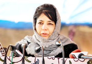 Chief Minister Mehbooba Mufti addressing passing out parade at Sheeri, Baramulla on Sunday. -Excelsior/Aabid Nabi